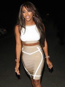 White & Beige Crop Top Two Piece Nude Celeb Inspired Bandage Dress