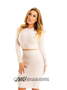 Nude High Neck Long Sleeve Two Piece Crop Top Midi Bandage Dress