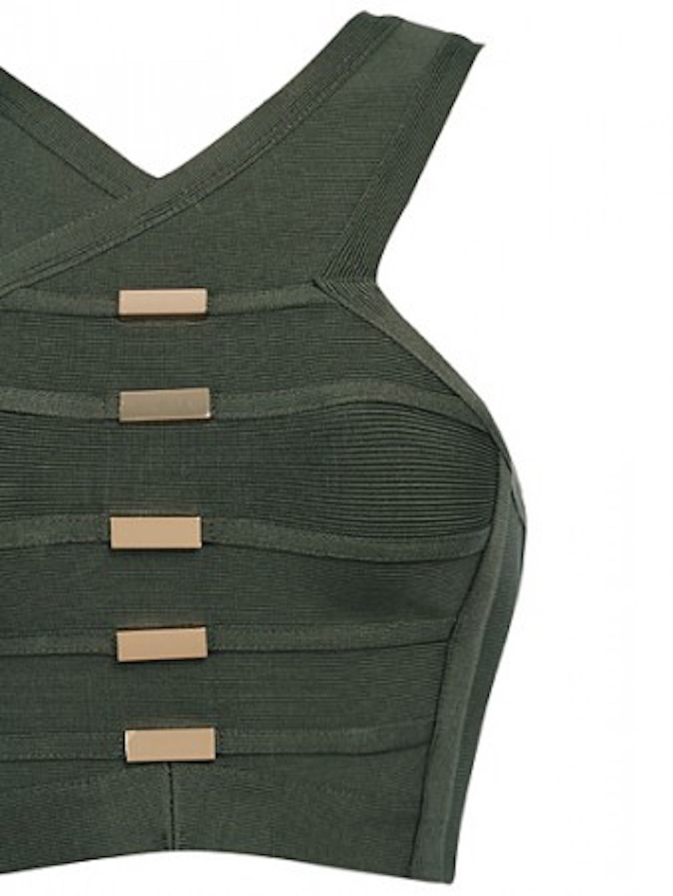 Olive Green Halter Crop Top & Celeb Inspired Two Piece Bandage set