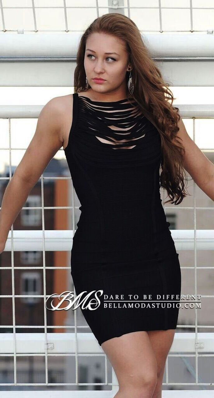 Little Black Tasselled Front Cowl Neck Bandage Dress