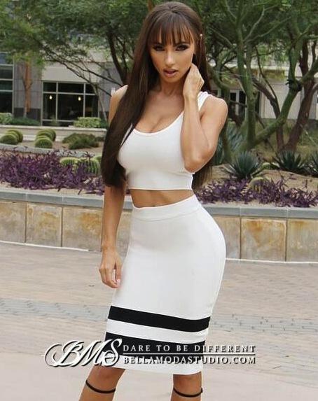 White Black Striped Two Piece Tank Midi Bandage Dress