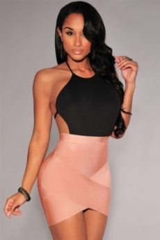 Nude Rose Beige Arched Front Bandage Mini Skirt