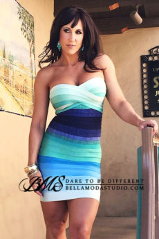 Teal Blue Green Strapless Ombre Gradient Bandage Dress: TKS Bandage