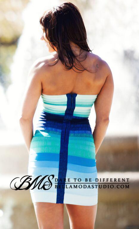 Teal Blue Green Strapless Ombre Gradient Bandage Dress: TKS Bandage