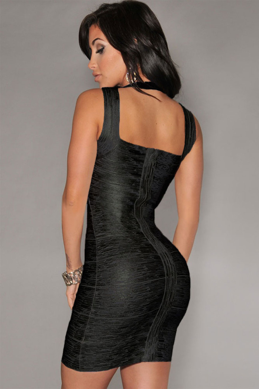Black Little Foil Cross Front Bandage Dress