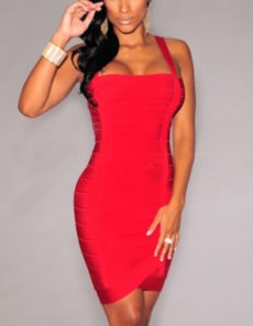 Red Double Straps Square Neck Arched Bandage Dress