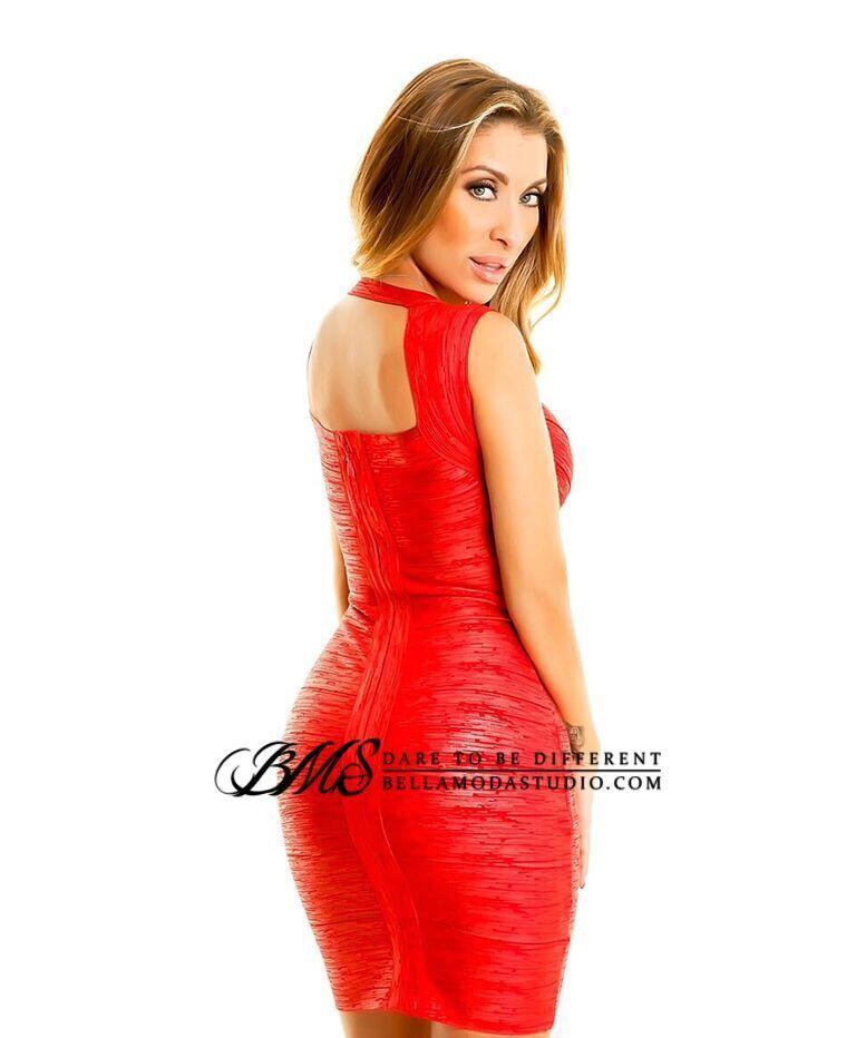 Red Foil Cross Front Bandage Dress