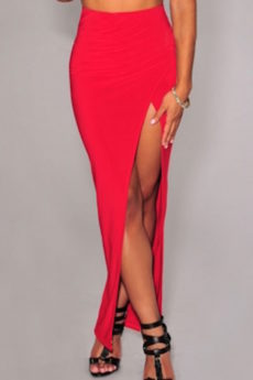 Red Sleek High Slit Wrap Stretch Maxi Skirt
