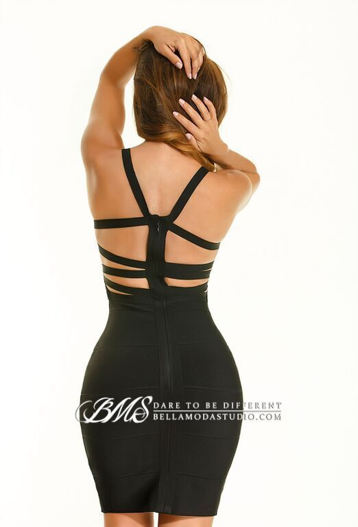 Black Strappy Back Bandage Dress