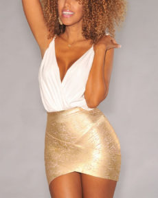 Gold Foil Bandage Arched Front Bandage Mini Skirt