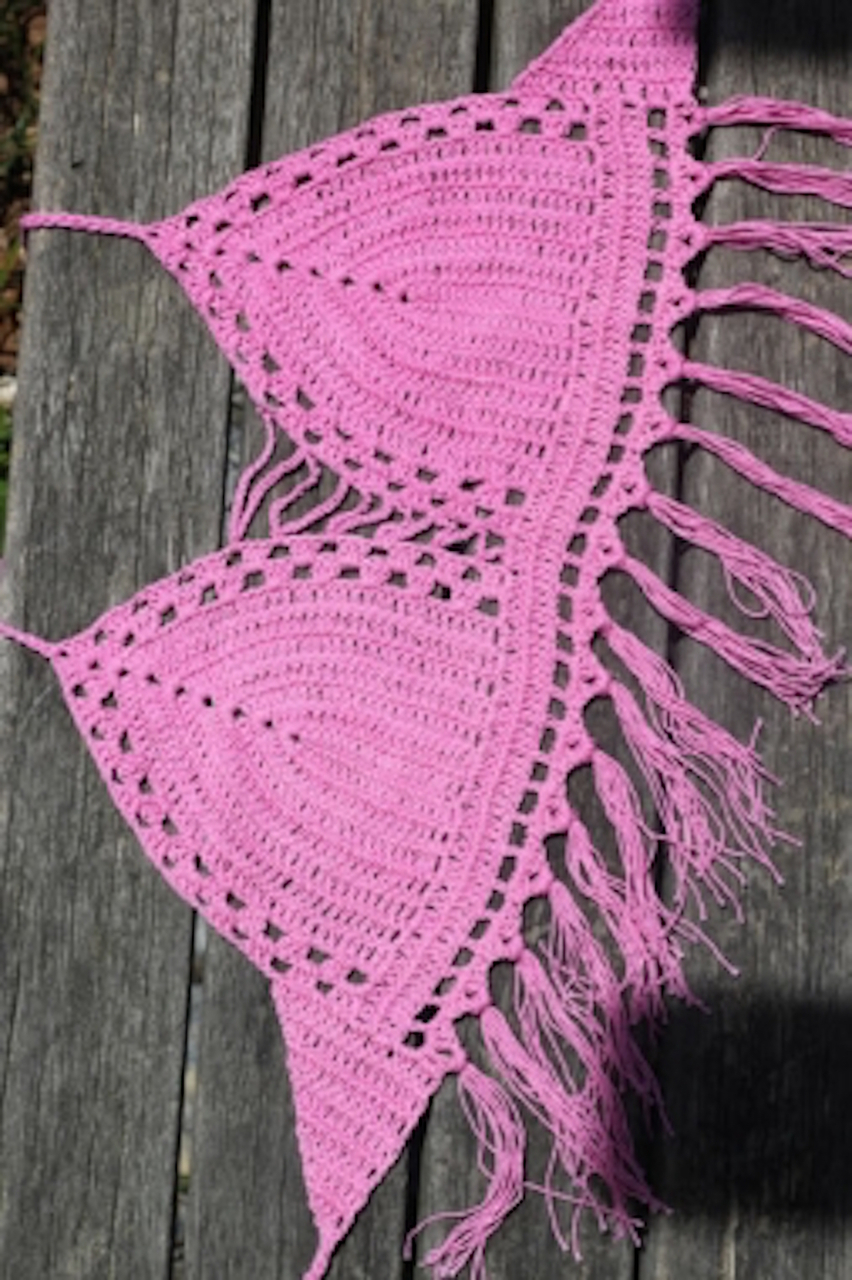 Pink Handmade Woven Crop Top : LL Styles