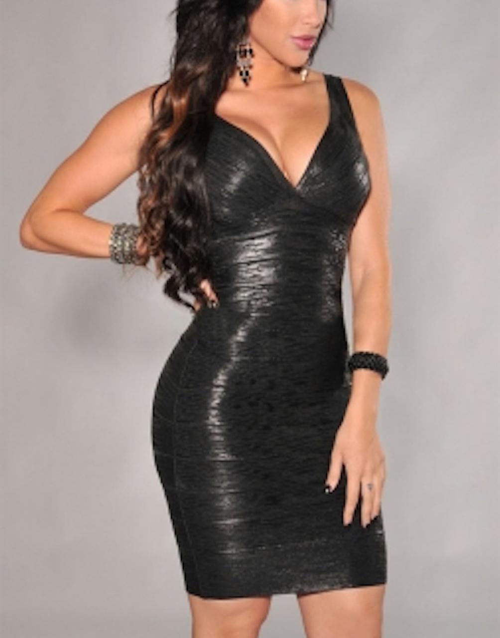 Black Little Deep V-neck Foil Bandage Dress