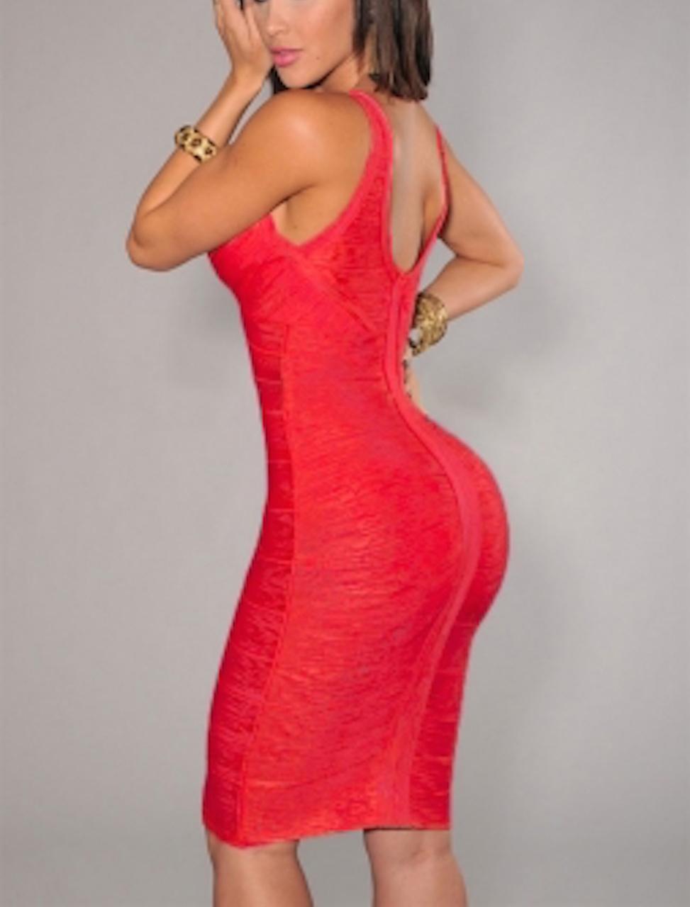 Red Deep V-neck Foil Bandage Dress