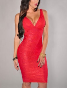 Red Deep V-neck Foil Bandage Dress