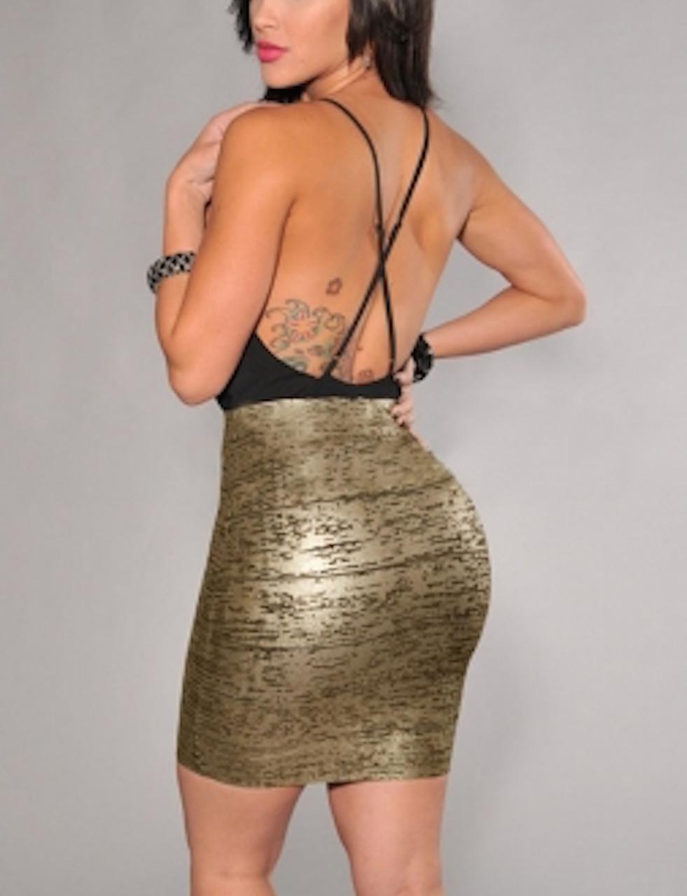 Black & Gold Foil Bandage Mini Skirt