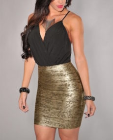 Black & Gold Foil Bandage Mini Skirt