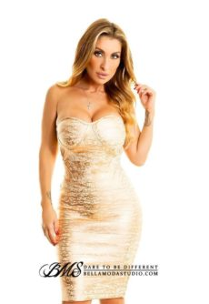 Rose Pink Foil Metallic Corset Style Strapless Bandage Dress