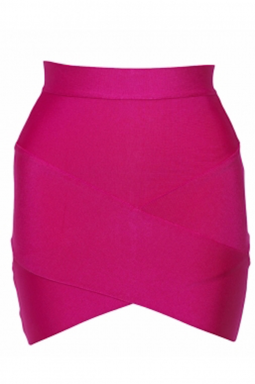 Hot Pink Arched Front Bandage Mini Skirt