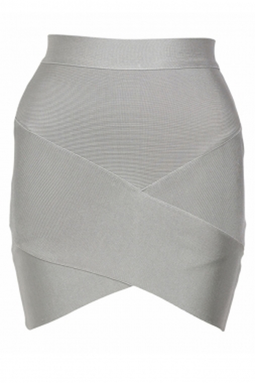 Light Gray V'd Front Mini Bandage Skirt