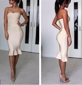 Ivory Strapless Ruffle Bottom Midi Celeb Inspired Bandage Dress