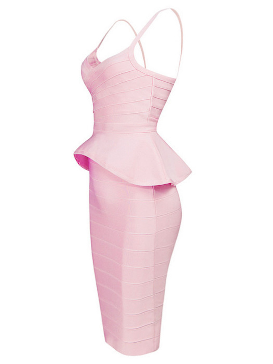 Baby Pink Two Piece Peplum Top Midi Bandage Dress Skirt