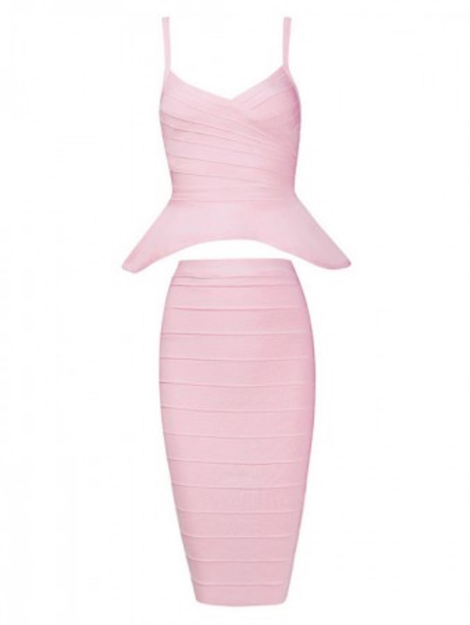Baby Pink Two Piece Peplum Top Midi Bandage Dress Skirt