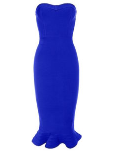 Royal Blue Strapless Ruffle Bottom Midi Bandage Dress