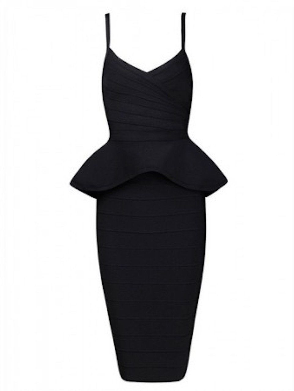 Black  Two Piece Peplum Top Midi Bandage Dress Skirt