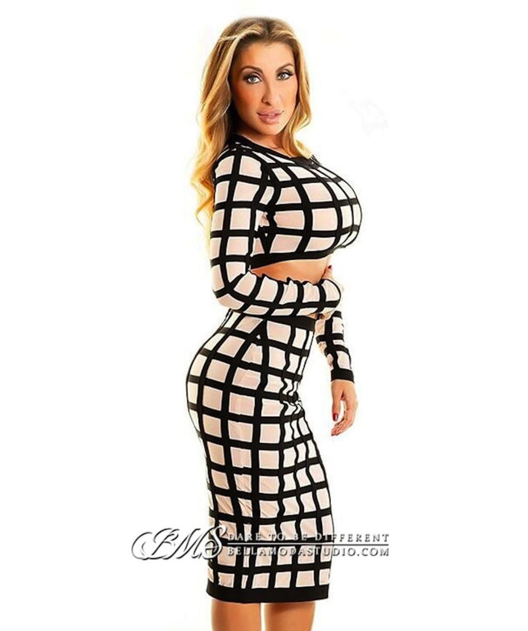 Nude & Black Checkered Sheer Mesh Two Piece Bandage Dress