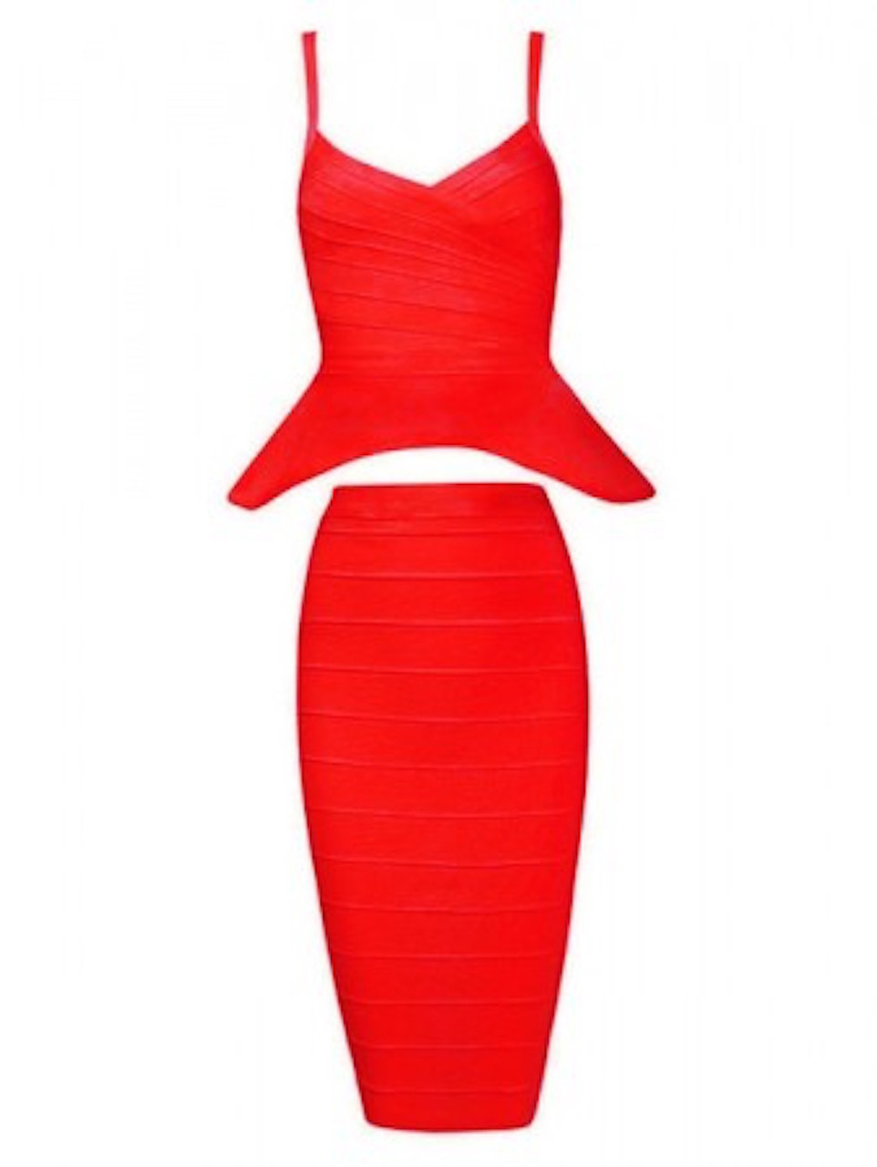 Red Two Piece Peplum Top Midi Bandage Dress Skirt