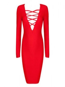 Red Lace Up Bust Long Sleeve Bandage Dress