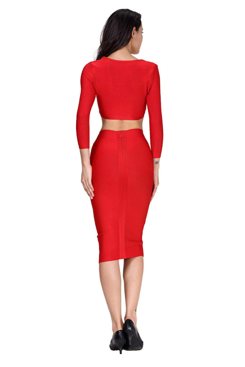 Bright Red Two Piece Bandage Dress