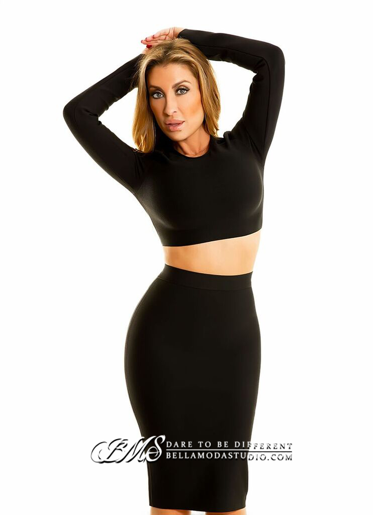 Black Long Sleeve Two Piece Midi Bandage Dress