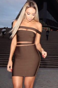 Deep Brown Off the Shoulder Celeb Inspired Cut Out Bandage Dress