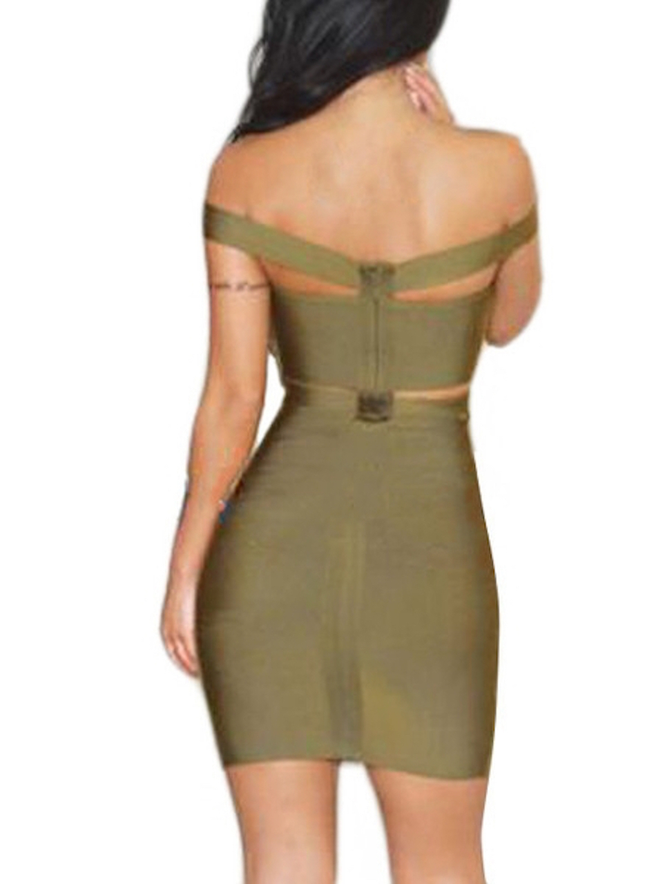 Olive Green Off the Shoulder Celeb Inspired Cut Out Bandage Dress