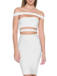 White Off the Shoulder Celeb Inspired Cut Out Bandage Dress