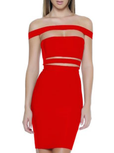 Red Off the Shoulder Celeb Inspired Cut Out Bandage Dress