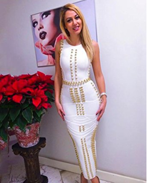 White with Gold Detail Celeb Inspired Bandage Gown
