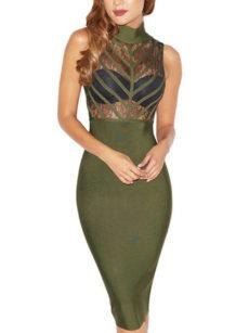 Olive Green & Sheer Midi Bandage Dress
