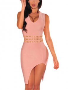 Pink & Gold Accented High Slit Bandage Dress