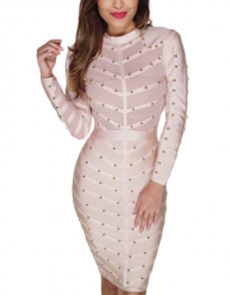 Nude Long Sleeve Studded Bandage Dress