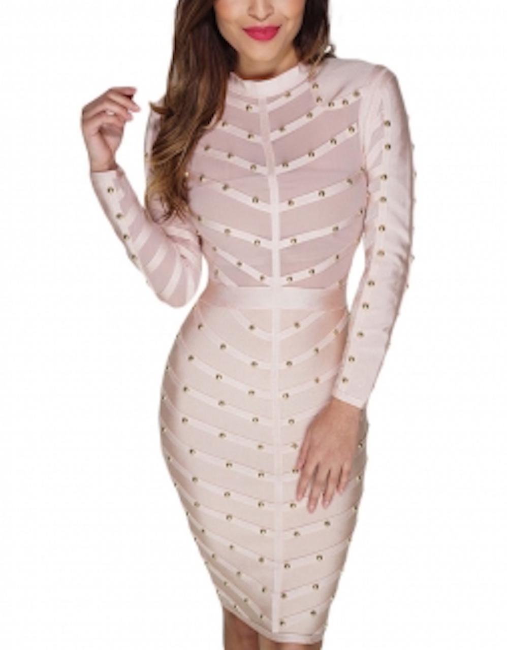 Nude Long Sleeve Studded Bandage Dress