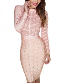Silky Pink Long Sleeve Studded Bandage Dress