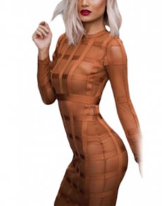 Golden Brown Long Sleeve Mesh Bandage Dress