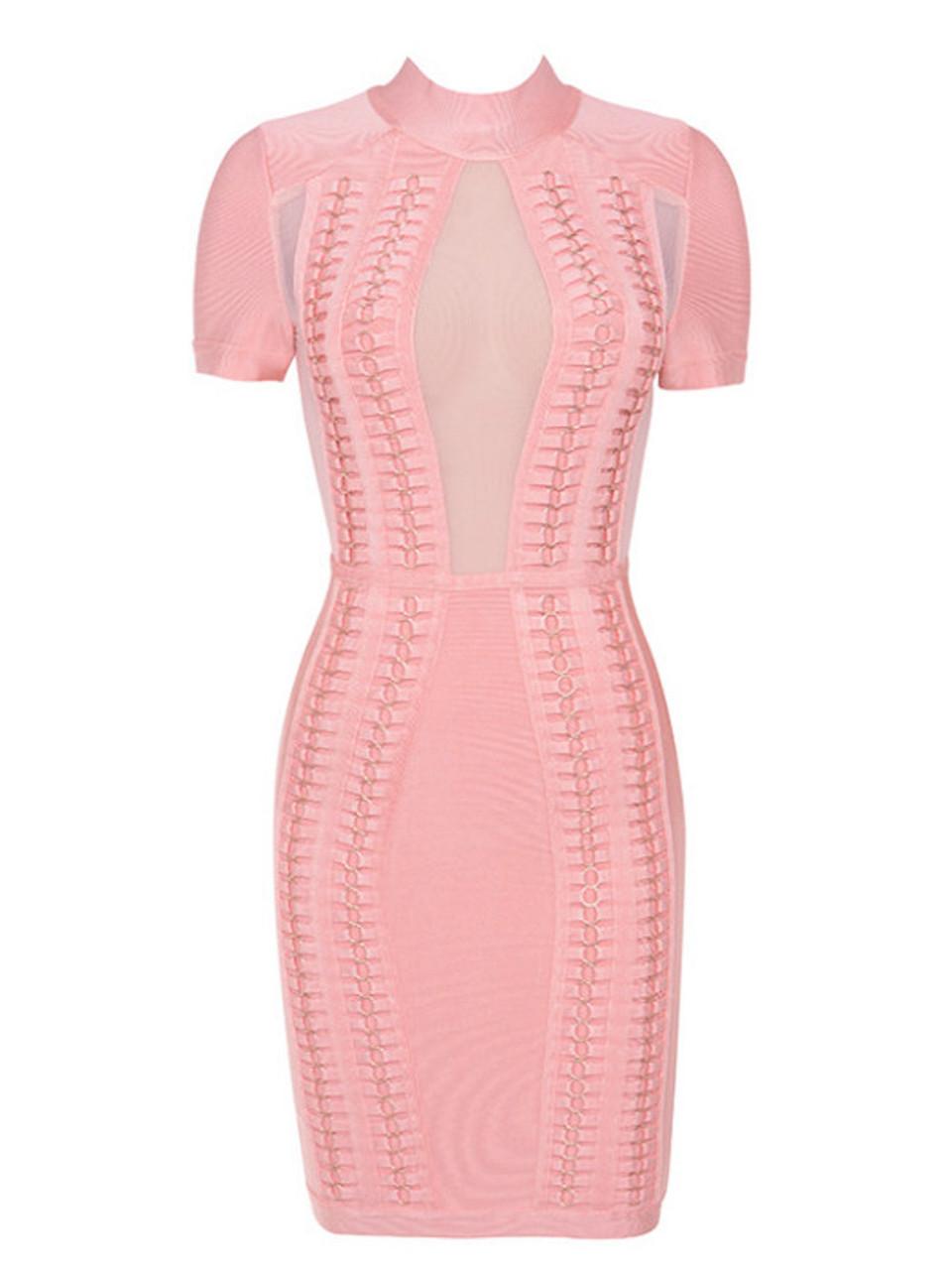 Pink & Mesh Silver Detail Celeb Inspired Bandage Dress