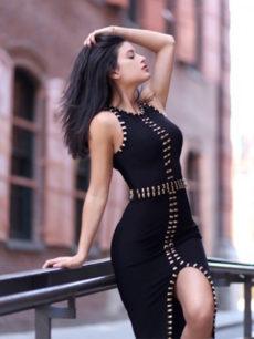 Black Gold Detail Thigh Slit Bandage Dress