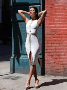 White Gold Detail Thigh Slit Celeb Styled Bandage Dress