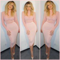 Pink Mesh Sheer Long Sleeve Celeb Inspired Bandage Dress