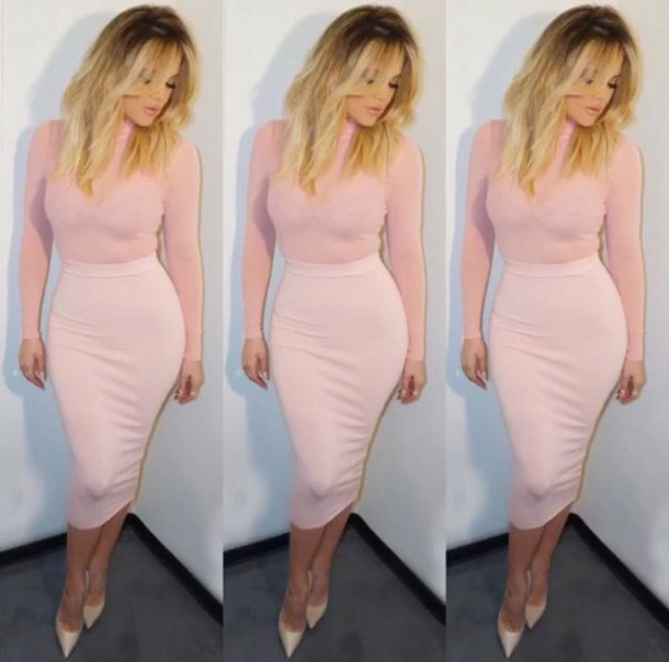 Pink Mesh Sheer Long Sleeve Celeb Inspired Bandage Dress