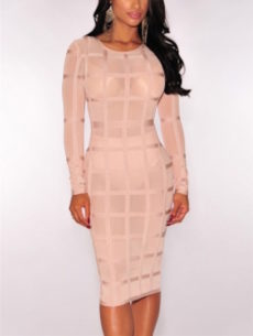 Nude Mesh Grid Bandage Dress